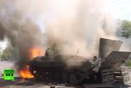 Xe bọc thép của quân đội Ukraine bốc cháy dữ dội ở Mariupol
