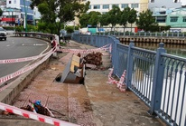 Sụp lún 1 tuần ven kênh Nhiêu Lộc, chưa thấy khắc phục