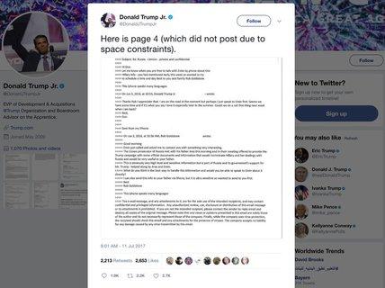 Email con trai Tổng thống Donald Trump làm chao đảo chứng khoán
