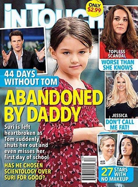 Bìa tạp chíIn touch đăng tin Tom Cruise có thể đã bỏ rơi con gái vì đạo Scientology. Ảnh: Internet
