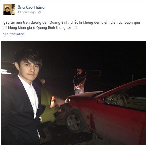 Ca sĩ Ông Cao Thắng – Hoàng Tôn gặp tai nạn giao thông