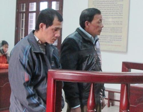 Chu Đình Quang (bên trái), bị 16 năm tù về hành vi đánh chết bố và ông Chu Đình Quy bị 24 tháng tù treo.