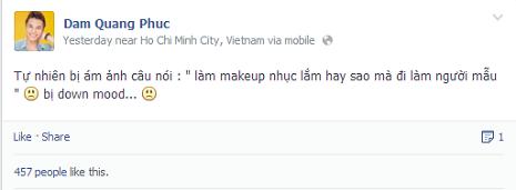 Thí sinh Đàm Quang Phúc chia sẻ trên Facebook cá nhân. Ảnh chụp màn hình