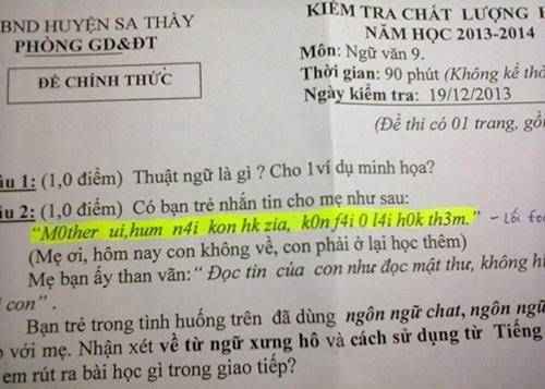 Đề thi bàn về việc sử dụng ngôn ngữ trong cách giao tiếp. Ảnh: Facbook