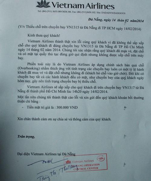 Vietnam Airlines gửi công văn giải thích việc thiếu chỗ trên chuyến bay VN1315