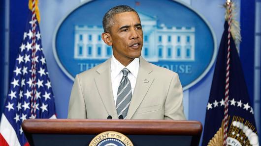 President Barack Obama speaking at the White House Aug. 28, 2014.