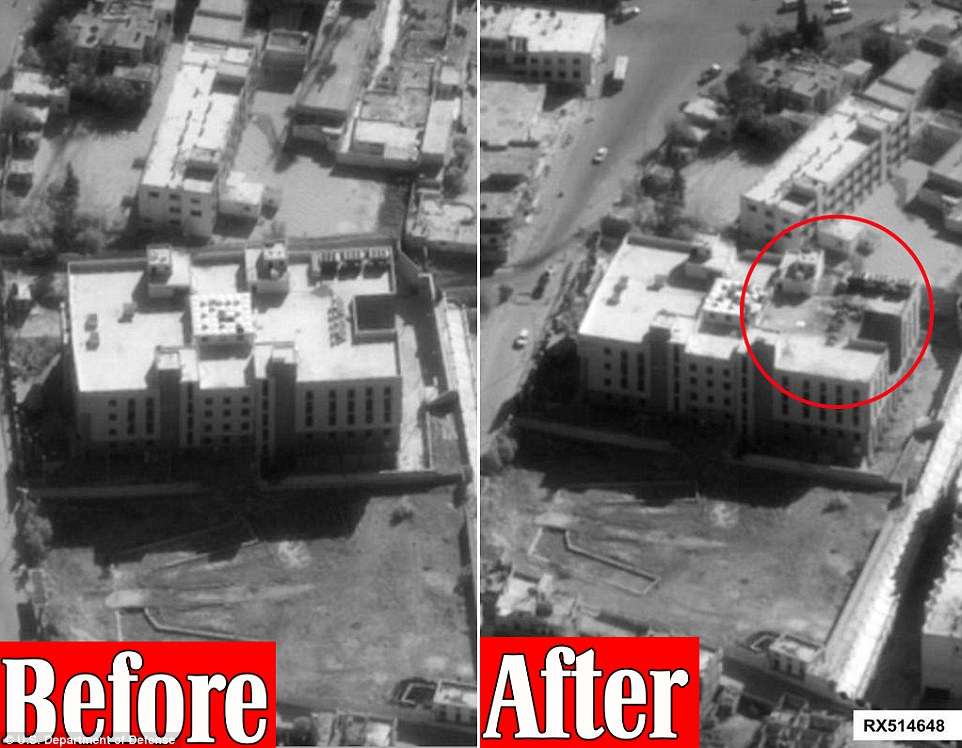 Damaged: This Pentagon image (before air strike left, and after on the right) shows the damage inflicted on a ISIS Finance center in Raqqa, Syria after it was hit by a tomahawk missile
