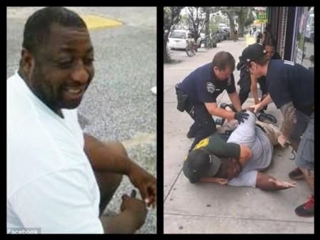 Ông Garner bị cảnh sát New York quật ngã và siết cổ ngày 17-7. Ảnh: Facebook