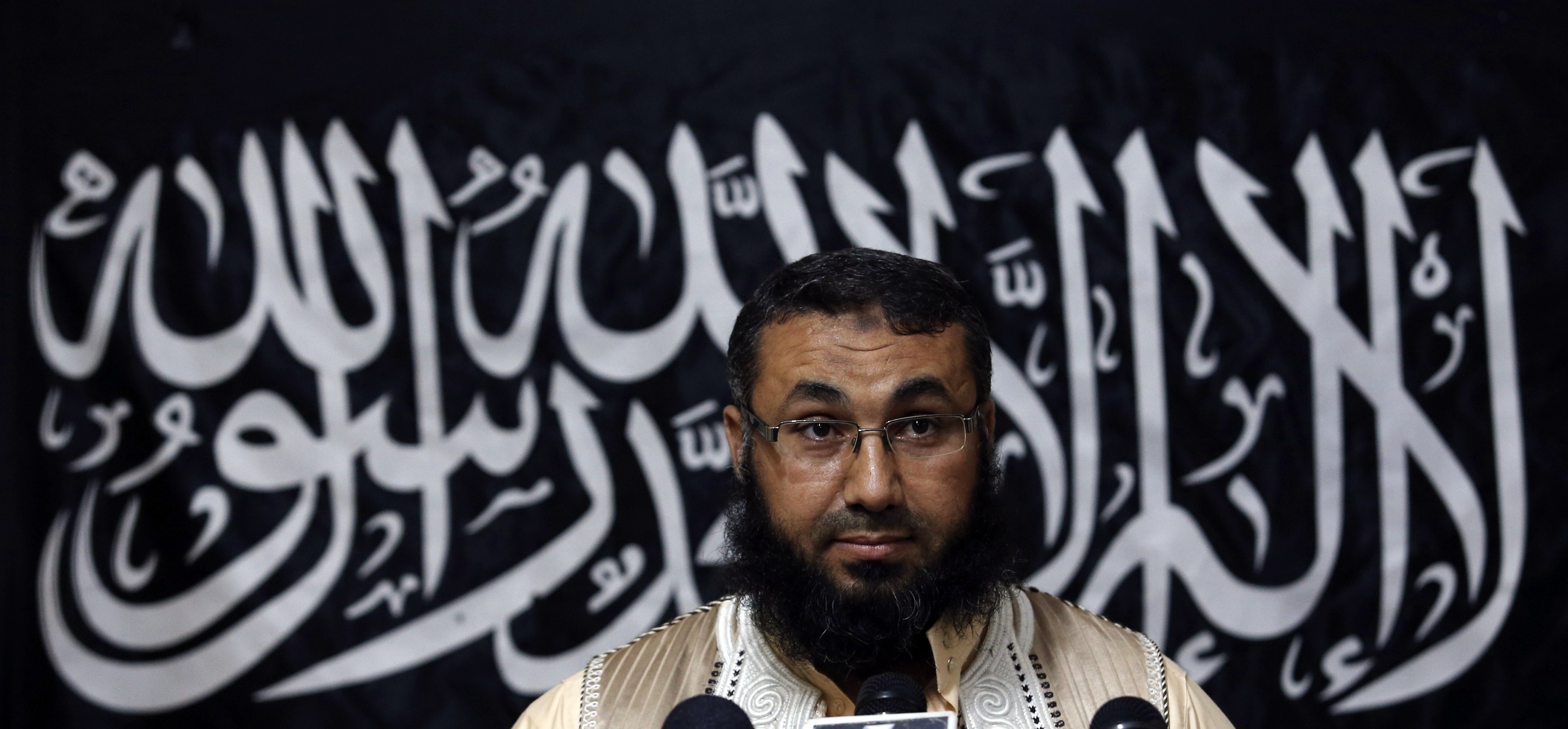 Mohamed Zahawi, head of the Benghazi brigade of Ansar al-Sharia, delivers a statement in Benghazi