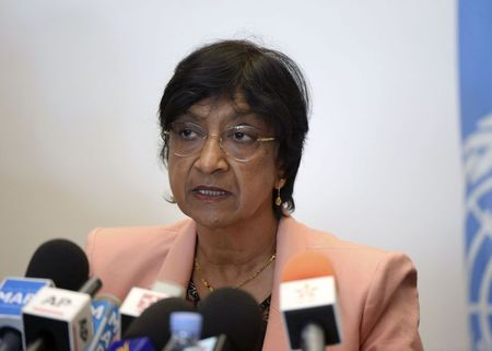 U.N. High Commissioner for Human Rights Navi Pillay speaks about the issue of human rights in Morocco, during a news conference in Rabat