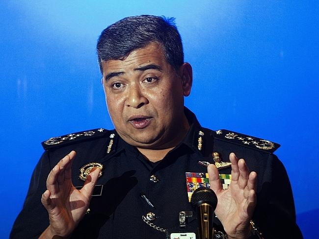 Malaysia Police Inspector General, Khalid Abu Bakar speaks during a press conference at K