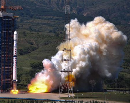 Vệ tinh phân giải cao Gaofen-2 được Trung Quốc phóng hôm 19-8. Ảnh: Tân Hoa Xã