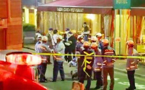Hiện trường vụ nổ súng tại quán cafe ở Tokyo hôm 6-7. Ảnh: SCMP