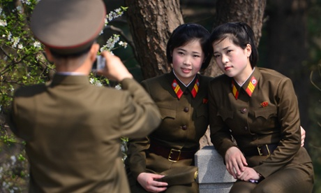 Members of the Korean Peoples Army pose for a photo near the site of late North Korean leader Kim Il-sungs house on 15 April, 2014, in Pyongyang, North Korea.
