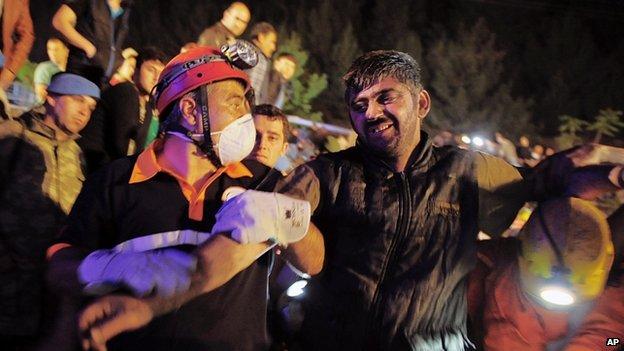 Rescued miner at Soma. 13 May 2014