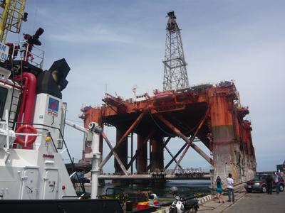 Giàn khoan Đại Hùng đã được di chuyển vào cảng Dung Quất an toàn.