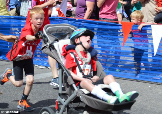 Fighter: Noah suggested competing in the race with his little brother, who has a rare neurological disorder