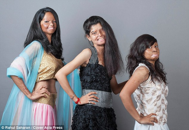 Inspirational: Acid attack survivors pose as models for a fashion shoot (from left to right: Laximi, Rita, Rupa)