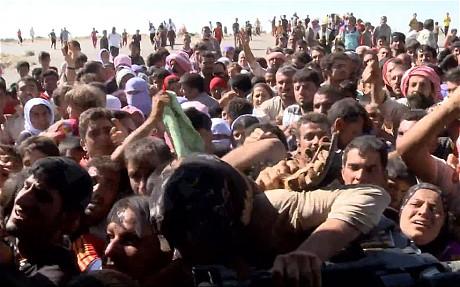 Những người Yazidis trên núi Sinjar đổ xô đến chỗ một trực thăng cứu trợ. Ảnh: Telegraph