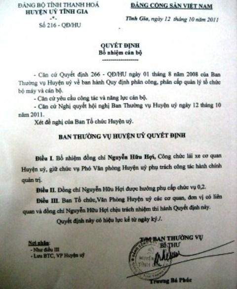 Quyết định bổ nhiệm lái xe Nguyễn Văn Hợi lên làm Phó văn phòng của Ban thường vụ Huyện ủy Tĩnh Gia
