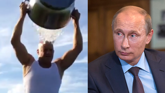 This combo of photos shows Vin Diesels Ice Challenge (left) and Russian President Vladimir Putin (An Image grab taken from a video uploaded on YouTube by MusicStudioTV, Reuters / Alexander Zemlianichenko)