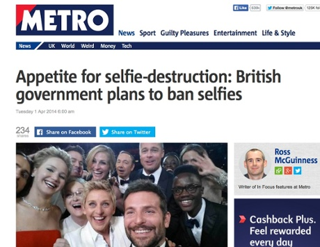 Government to ban selfies