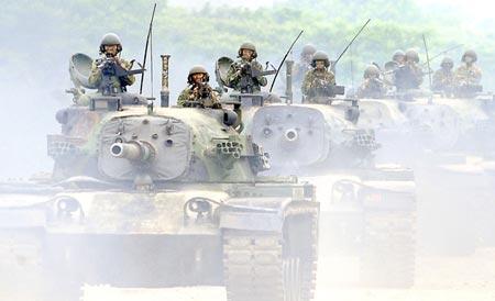 Binh lính Đài Loan tham gia cuộc tập trận thường niên Han Kuang. Ảnh: Want China Times