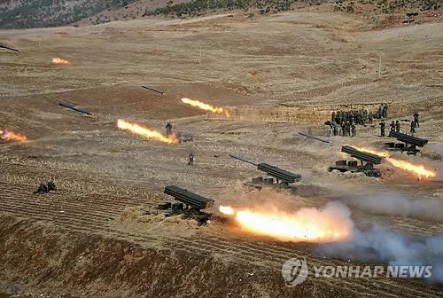 Một cuộc tập trận bắn đạn pháo của Triều Tiên tháng 3-2013. Ảnh: Yonhap