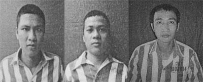 (Từ trái sang) các đối tượng: Ngô Minh Phước, Lê Sơn và Võ Thành Lộc.