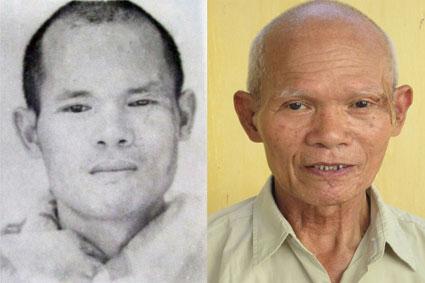 Nguyễn Trung Nghĩa (trái) khi bị truy nã và (phải) lúc mới bị bắt.
