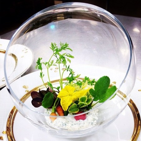 Heres a first look at the Winter Garden Salad that were serving at tomorrows State Dinner. The salad features herbs from the White House Kitchen Garden, and the dressing uses honey from the beehive on the South Lawn.