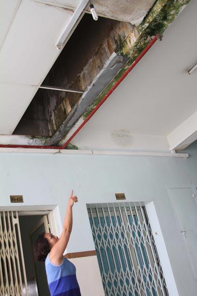 Nước từ bồn bê tông chảy xuống sàn tại lô B5 chung cư Thạnh Mỹ Lợi, quận 2, TP HCM Ảnh: SỸ ĐÔNG