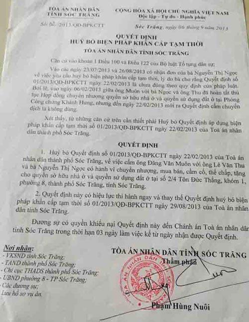 Quyết định hủy bỏ quyết định áp dụng biện pháp khẩn cấp tạm thời của TAND tỉnh Sóc Trăng Ảnh: CÔNG TUẤN
