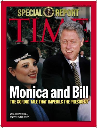 Mối quan hệ giữa cựu Tổng thống Bill Clinton và thực tập sinh Monica Lewinsky đình đám một thời. Ảnh: Time
