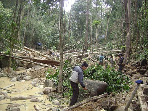 Lúc cao điểm, khu vực này có tới 500 người tàn phá môi trường để tìm đá quý