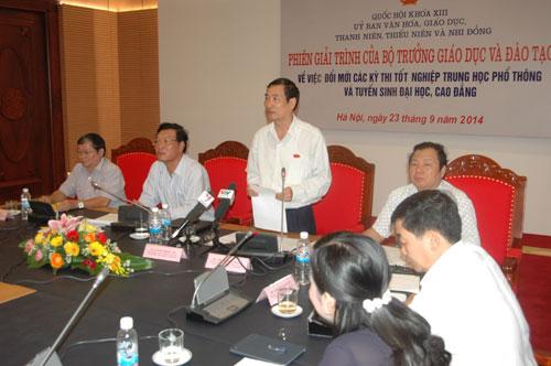 GS Đào Trọng Thi phát biểu tại phiên giải trình của Bộ trưởng Bộ GD-ĐT Phạm Vũ Luận
