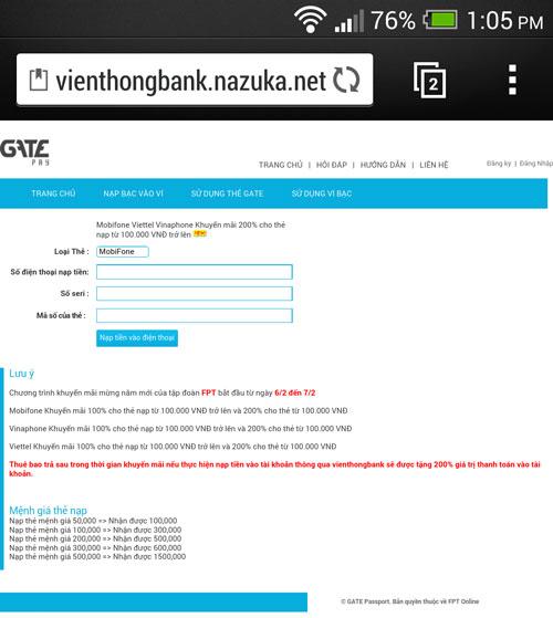 Trang web xuất hiện trong những ngày sau Tết để lừa tiền nạp thẻ cào của người sử dụng điện thoại