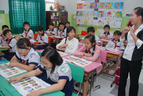 Một giờ học tiếng Anh của học sinh TP HCM Ảnh: TẤN THẠNH