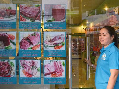 Cửa hàng kinh doanh thịt bò Úc của Công ty TNHH TM DV XNK Thực phẩm sạch tại TP HCM  Ảnh: TẤN THẠNH