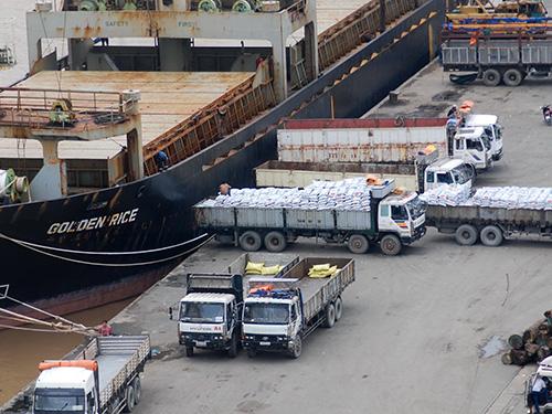 Xếp dỡ hàng hóa tại cảng Lotus, quận 7, TP HCM Ảnh: TẤN THẠNH