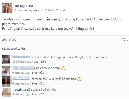 Phần chia sẻ của Ngọc Hà trên Facebook
