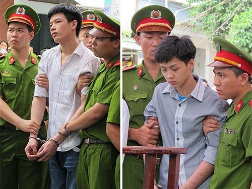 Nguyễn Sơn Nguyên (áo trắng) và Hà Văn Lưu sau khi nghe tòa tuyên án tử hình