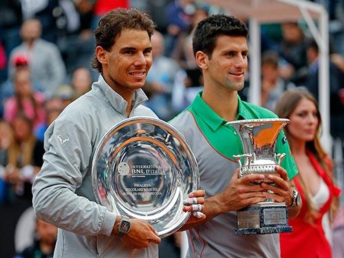 Nadal (trái) vừa xếp nhì sau Djokovic ở Giải Rome Open 2014 tại Ý Ảnh: REUTERS