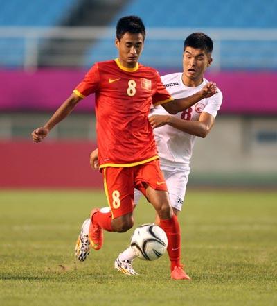 Vũ Minh Tuấn (8) và đồng đội ở Olympic Việt Nam tự tin trước trận gặp UAEẢnh: HẢI ANH