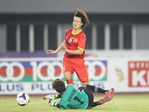 Tiền đạo Minh Nguyệt và các tuyển thủ Việt Nam có thể gặp lại Thái Lan ở VCK Asian Cup 2014 Ảnh: QUANG LIÊM