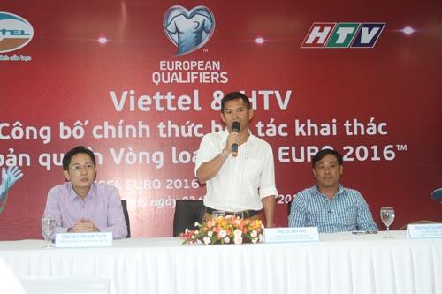 Ông Nguyễn Văn Phú, Trưởng Ban Thể thao HTV, tại buổi họp báo