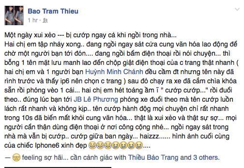 Ca sĩ Thiều Bảo Trang bị cướp Iphone 6 trong tích tắc