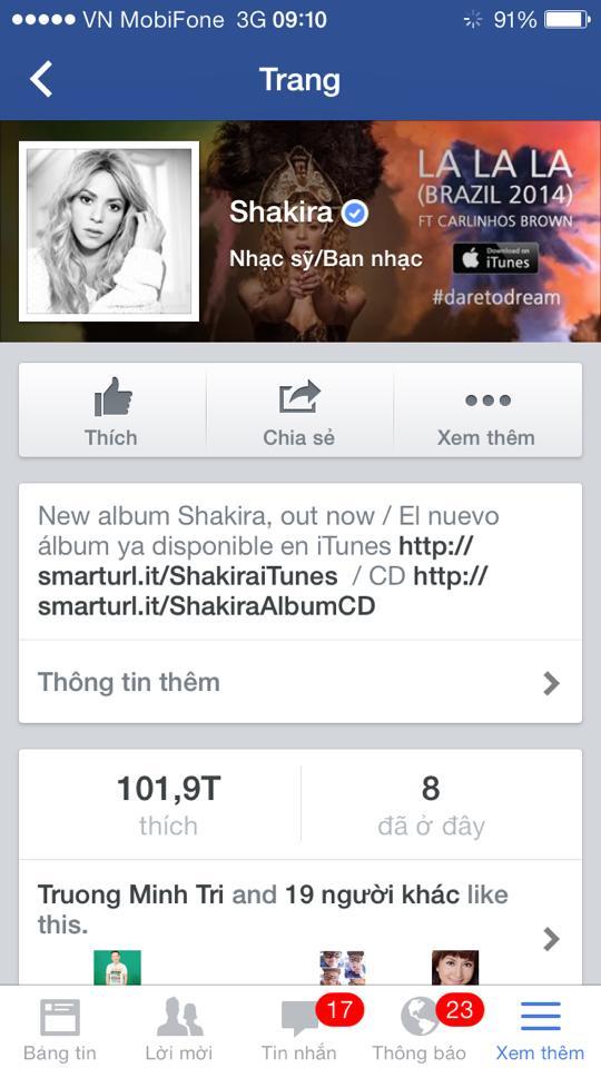 Vy Oanh thích thú khoe trên Facebook của mình