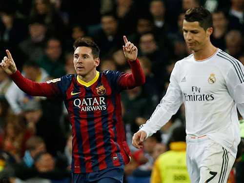 CĐV mong mỏi Messi (trái) sẽ lấy lại duyên ghi bàn thường thấy trong các trận siêu kinh điển, nhất là khi C. Ronaldo khó bình phục Ảnh: REUTERS