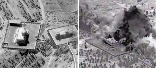 Một mục tiêu của IS ở Syria trước (ảnh trái) và sau khi bị không kích Ảnh: The Independent